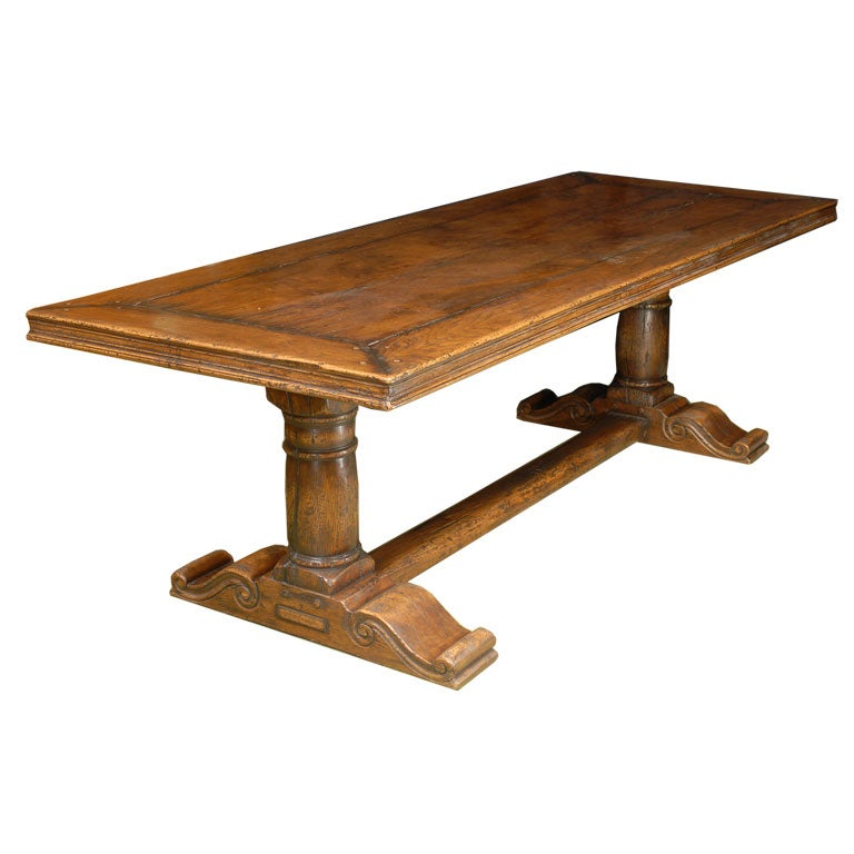 Provencial dining table in oak with trestle base at stdibs
