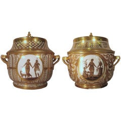 Pair London-decorated Coalport Ice Pails, England c. 1805