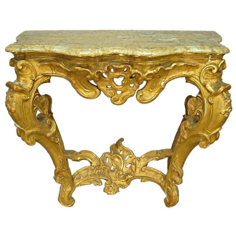 Rococo Gilt-wood Console with Marble Top, Italy c. 1760