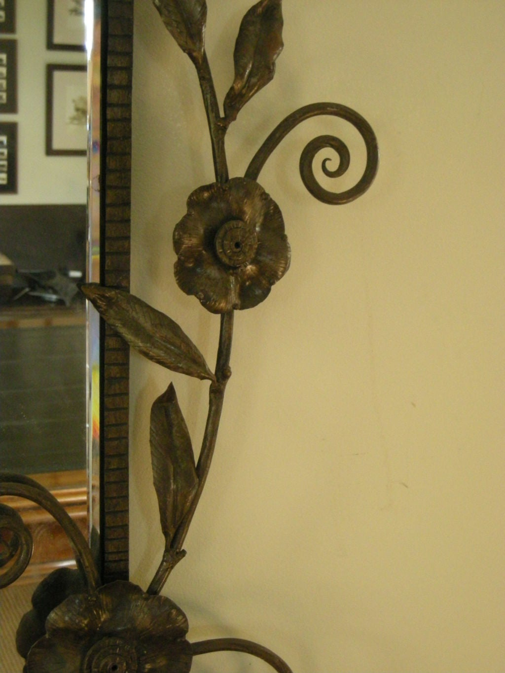 Art deco period wrought iron mirror at 1stdibs for Art deco period