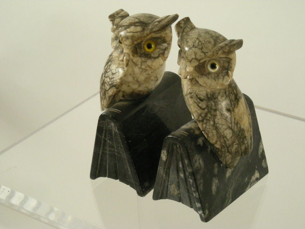 Pair Of Carved Italian Marble Owl Bookends At 1stdibs