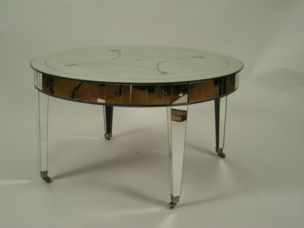 1930s Etched Mirrored Cocktail Table By Paine Furniture Boston At 1stdibs