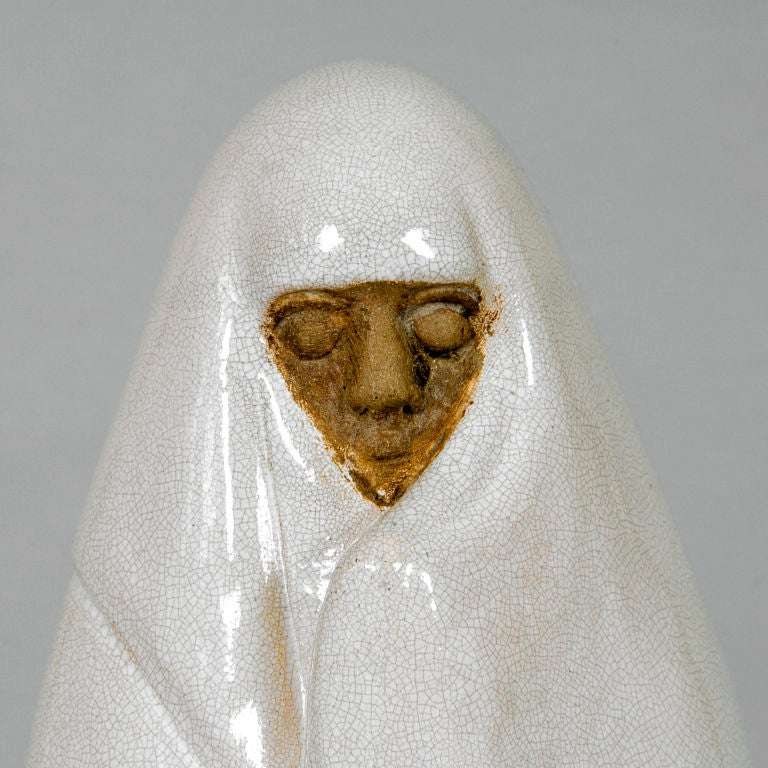La Femme de Marrakech by Celine Lepage(1882-1928) France. Exceptionally important ceramic white glazed figure with original seal and signed label. Authenticated by Felix Marcilhac, Paris. (This group was also made as a re-edition in the 1950s with a