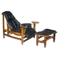 "`Jangarda"" Chair with Ottoman  by Jean Gillon for Probel, 1973"