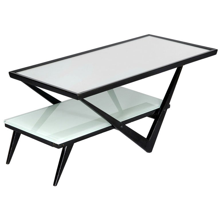 Black Lacquered Two Tier Coffee Table With Mirrored Top