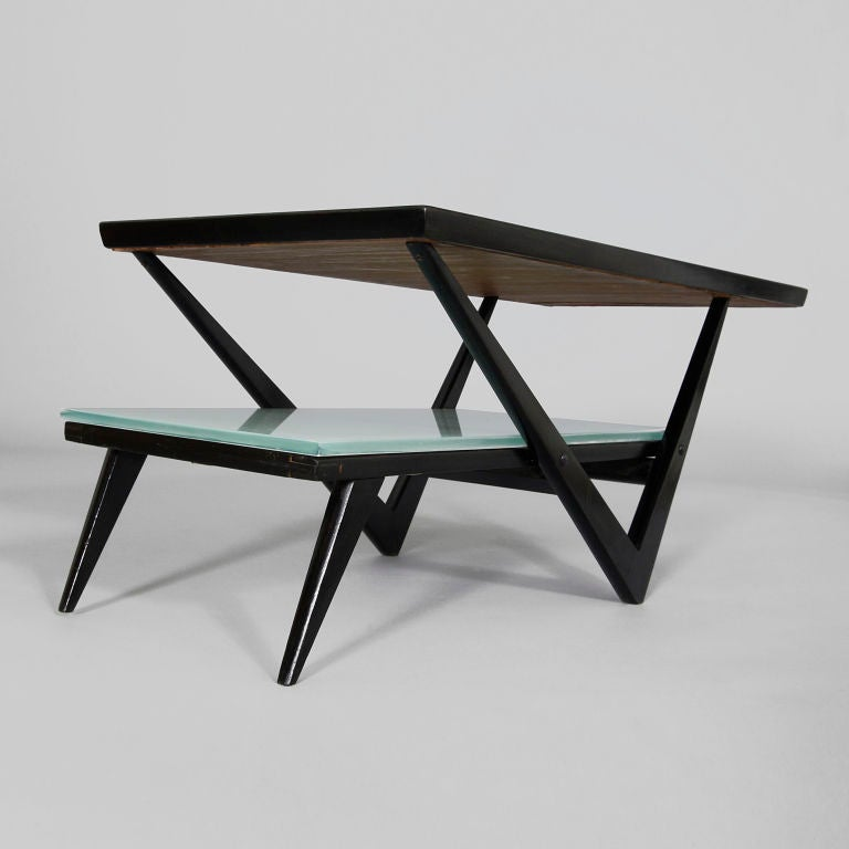 Black Lacquered Two Tier Coffee Table With Mirrored Top At 1stdibs
