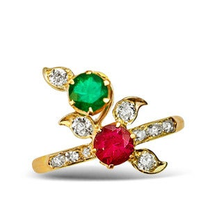 Art Nouveau Ruby Emerald and Diamond Ring, 1904-08