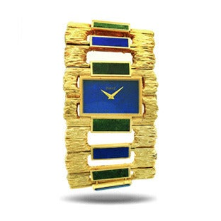 Piaget Lady's Gold Lapis Nephrite Cuff Wristwatch, 1970s