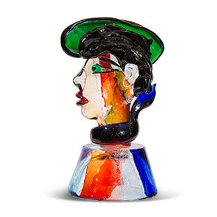 Stefano Toso Murano Glass Bust of Gondolier, 20th Century