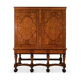William and Mary Seaweed Marquetry Cabinet, 17th Century
