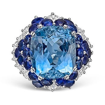 Aquamarine, Sapphire, Diamond and Platinum Ring, 20th Century