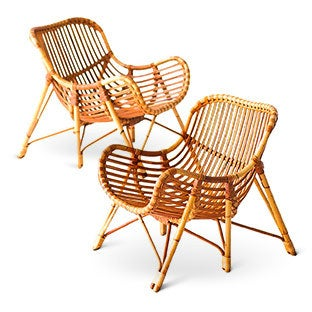 Laurids Lonborg Bamboo and Wicker Lounge Chairs, 1960s