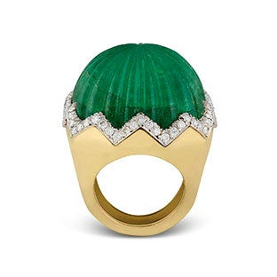 David Webb Carved Emerald Ring, 1960s