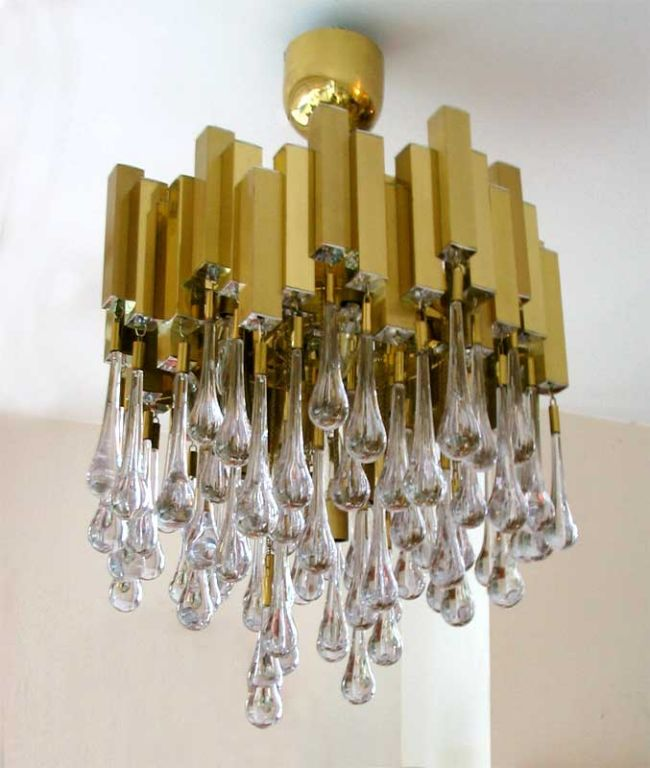 French brass and crystal mid century chandelier by solaris at 1stdibs brass french brass and crystal mid century chandelier by solaris for sale aloadofball Images