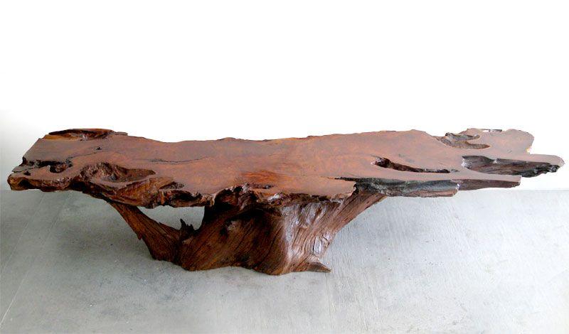 Large Rare Redwood Coffee Table