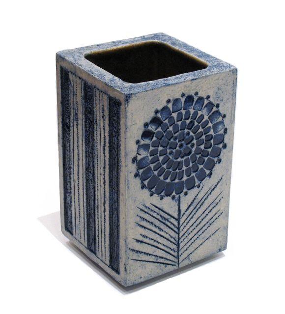 French Blue Glazed Ceramic Vase by Roger Capron For Sale