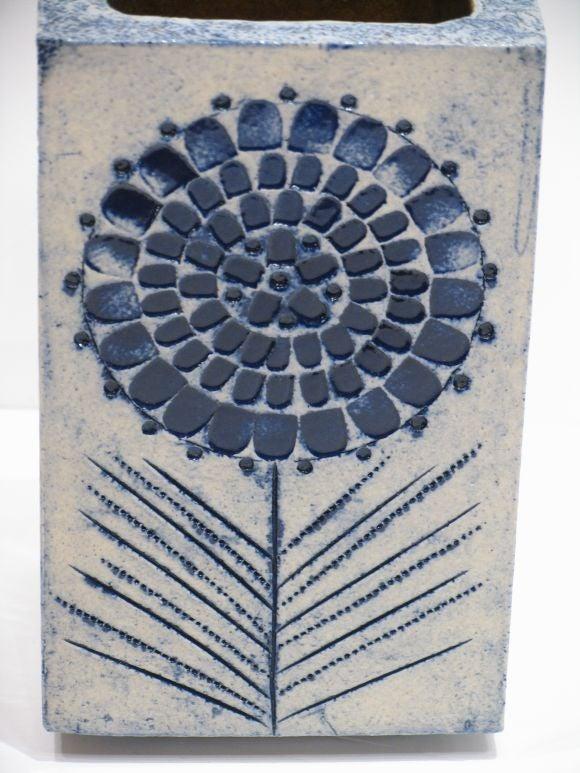 Mid-Century Modern Blue Glazed Ceramic Vase by Roger Capron For Sale
