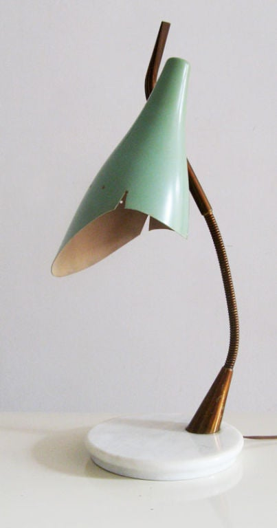 Stilnovo Table Lamp With Bending Arm Painted Shade