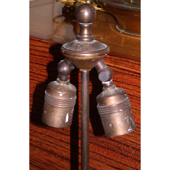 Pair of Oxidized Metal Table Lamps 5