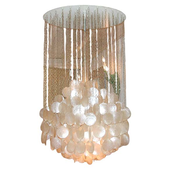 Vernor Panton Mother Of Pearl Ceiling Light At 1stdibs
