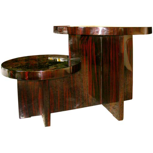 Palissandre double round top coffee table by majorelle at for Double round coffee table