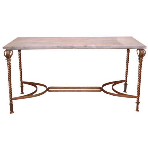 Twisted gilt wrought iron legs console table at 1stdibs for Wrought iron sofa table legs