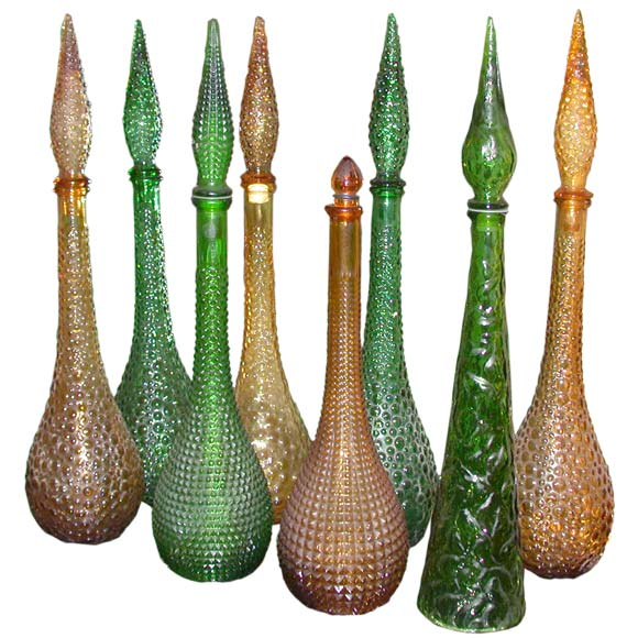 Set Of 8 Murano Colored Glass Decanters At 1stdibs