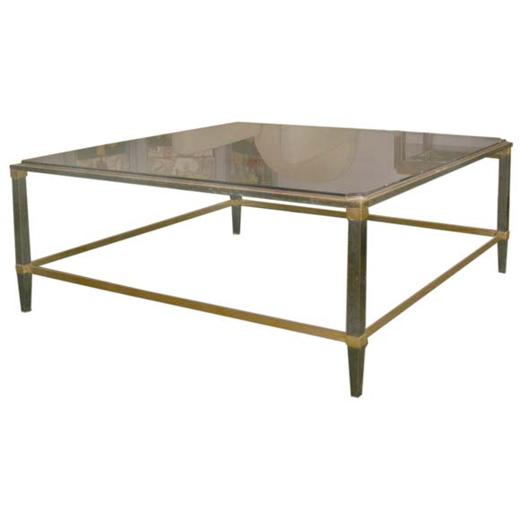 Large Square Black Stained Glass Top Coffee Table At 1stdibs