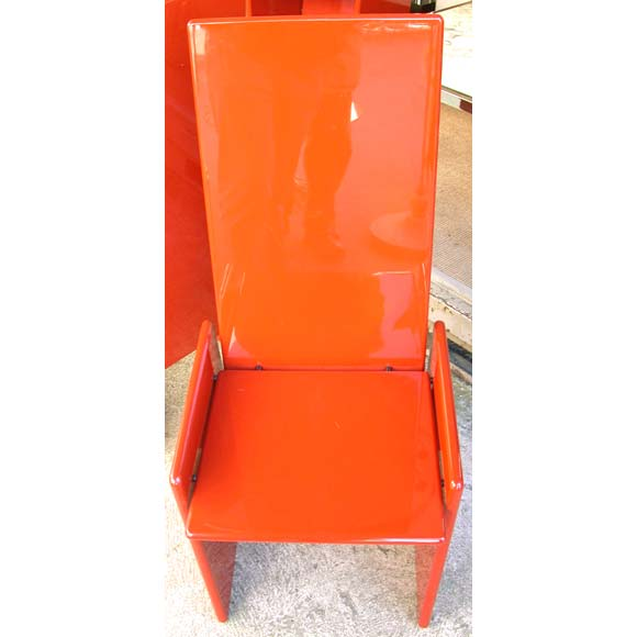 Set Of Four Burned Orange Lacquered Wood Chairs By