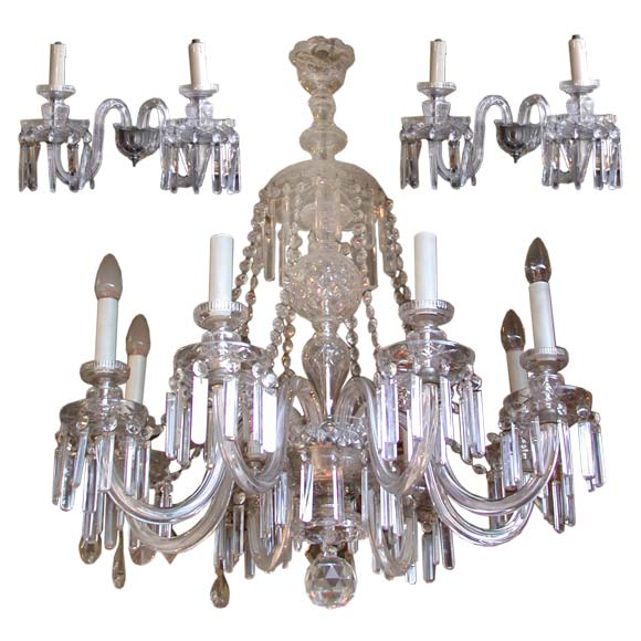 Crystal Glass Chandelier And Pair Of Wall Light Appliques