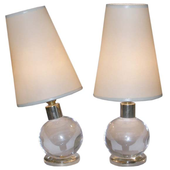 pair of small glass ball table lamps by jacques adnet at. Black Bedroom Furniture Sets. Home Design Ideas