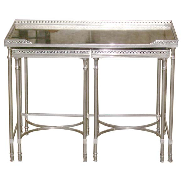 Bronze Nesting Coffee Tables: Silvered Bronze Nesting Tables At 1stdibs