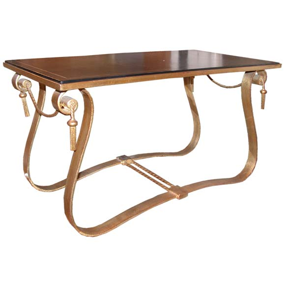 wrought iron with leather top coffee table is no longer available