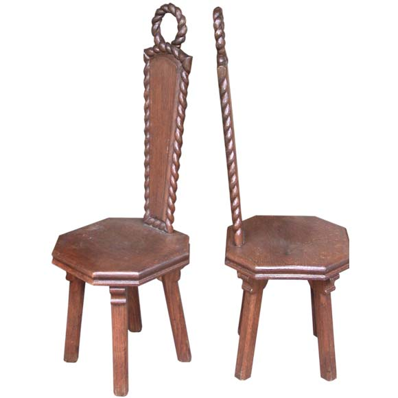 Set Of Eight Carved Rope Loop Back Oak Chairs At 1stdibs