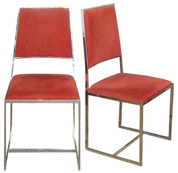 Set of six 70 39 s chrome metal frame chairs at 1stdibs for Dining chairs metal frame