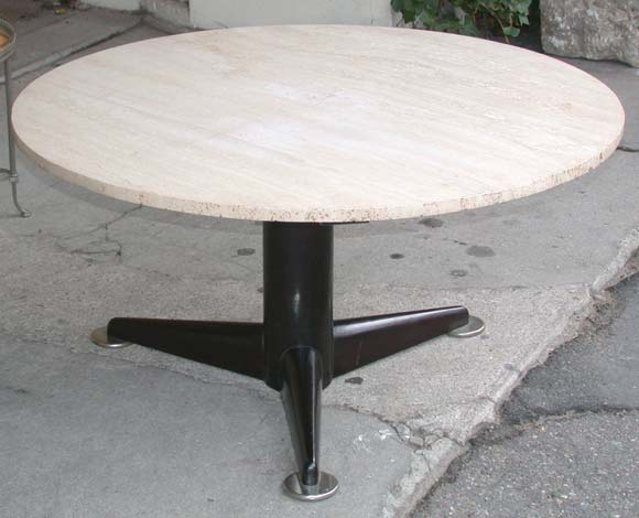 Travertine Top Round Coffee Table At 1stdibs