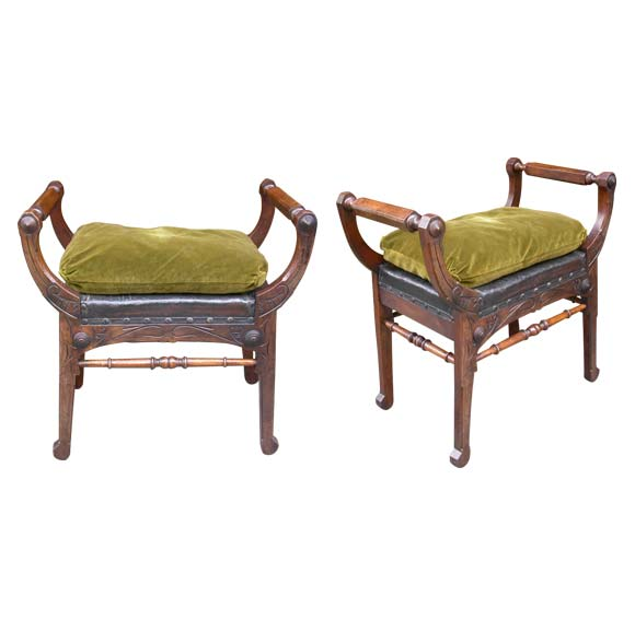 Pair Of Art Nouveau Stools At 1stdibs