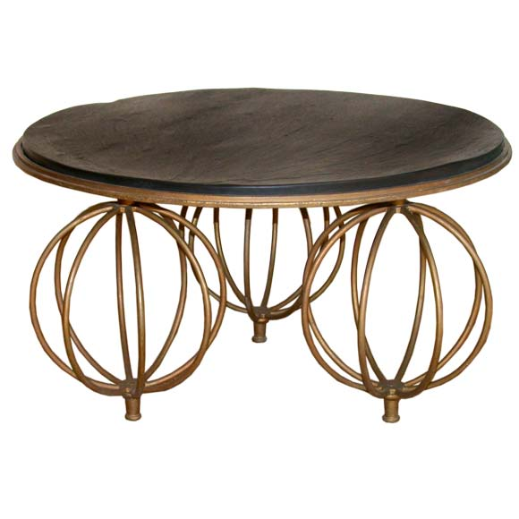 Gilt wrought iron globe foot slate top coffee table at 1stdibs Slate top coffee tables
