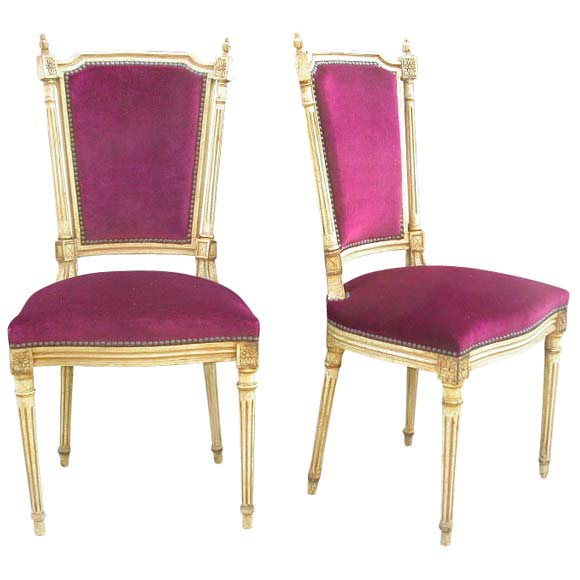Set of six louis xvi style plum velvet dining chairs at for Plum dining room chairs