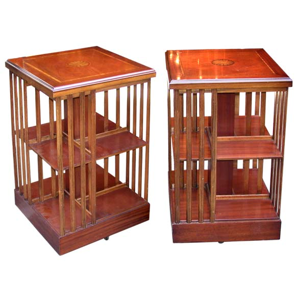 Pair square rotating book shelf end tables at 1stdibs for Revolving end table