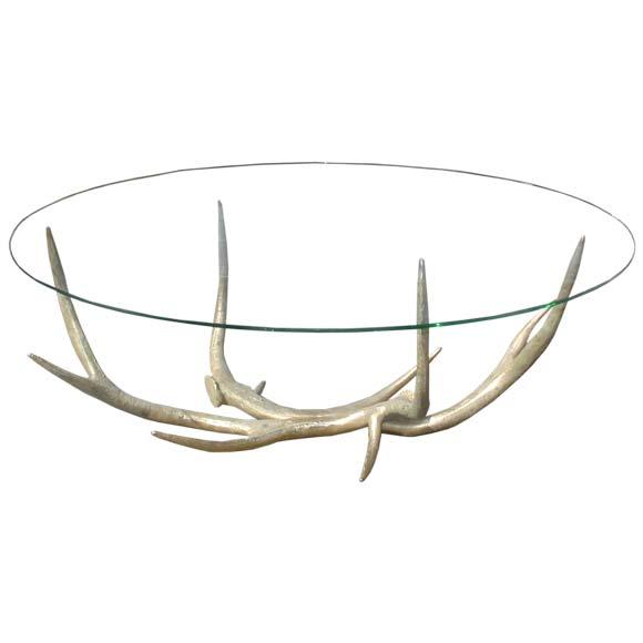 Bronze Deer Antler Base Coffee Table At 1stdibs