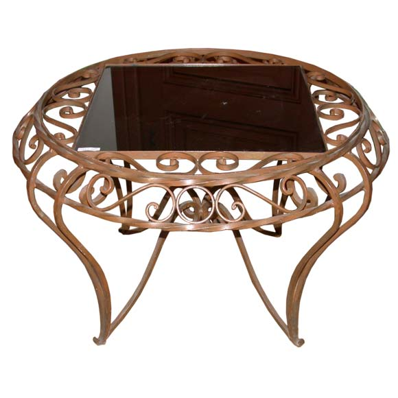 Round Wrought Iron Base Square Top Coffee Table At 1stdibs