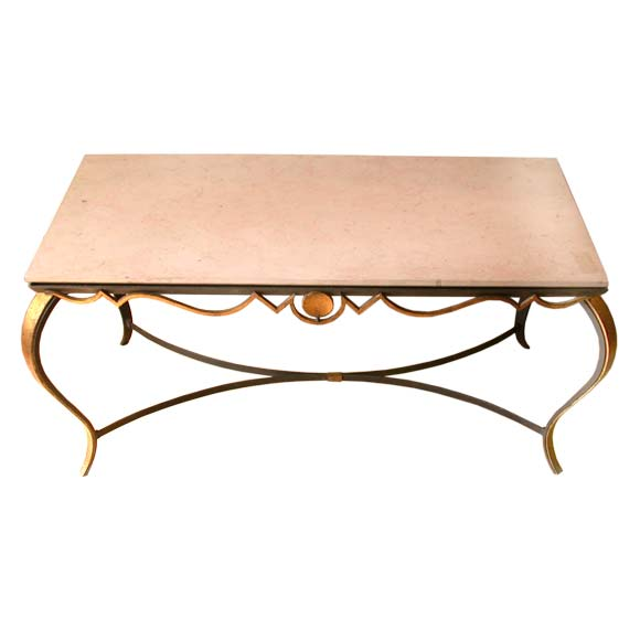 Black and gilt patina wrought iron coffee table at 1stdibs for Iron coffee table set