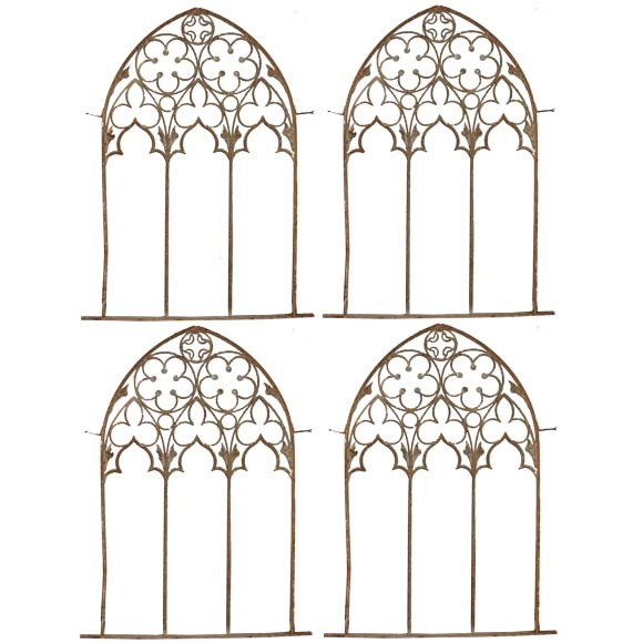 Four Gothic Style Wrought Iron Window Frames At 1stdibs