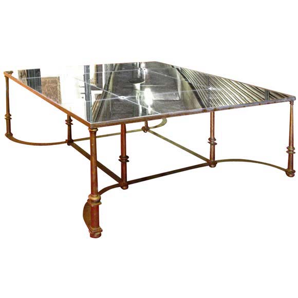 Large 50 39 S Mirrored Top Coffee Table At 1stdibs