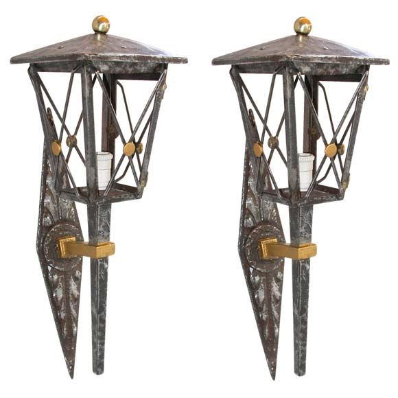 Pair of Lantern Wall Light Appliques 1