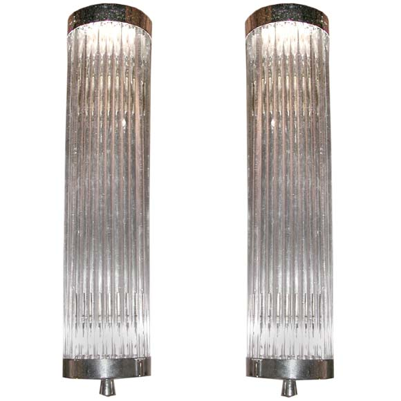 Glass Tube Wall Lights : Pair of Chrome and Glass Tube Wall Light Appliques at 1stdibs