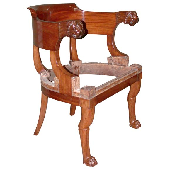 Lions head desk fauteuil at 1stdibs for Dining room head chairs