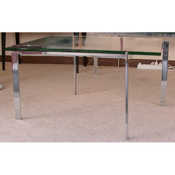 Artimeta Attributed Square Metal And Glass Coffee Table At: 70's Square Chrome And Glass Coffee Table At 1stdibs