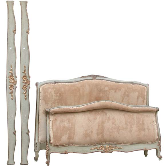 Carved gray and gilt patina louis xv style bed frame at